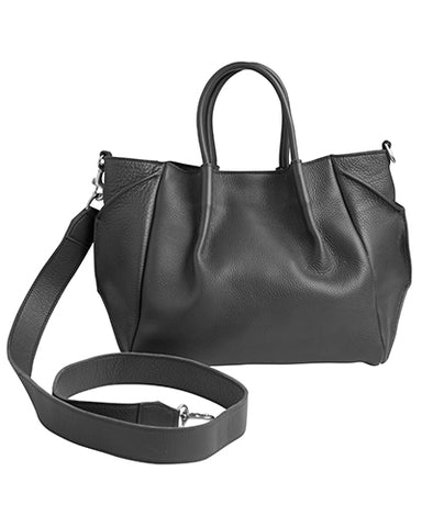 zoe lined tote in black pebble cow leather wide cross body strap