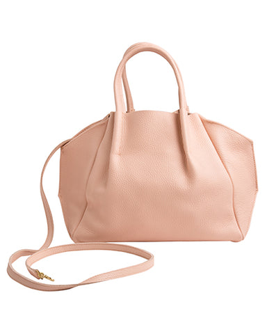 zoe tote in pink pebble cow leather