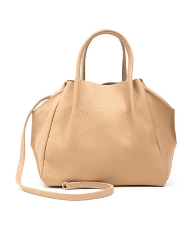 zoe tote in oatmeal buffalo cow leather