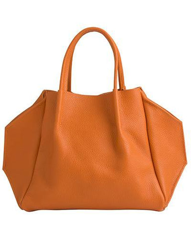 zoe tote in papaya pebble cow leather