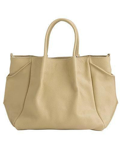 zoe lined tote in sand pebble cow leather wide cross body strap-FINAL SALE