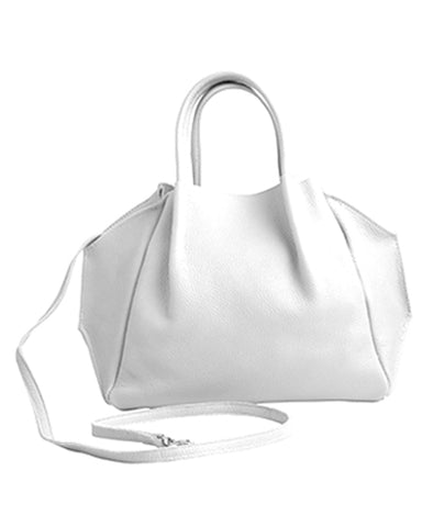 zoe tote in white pebble cow leather