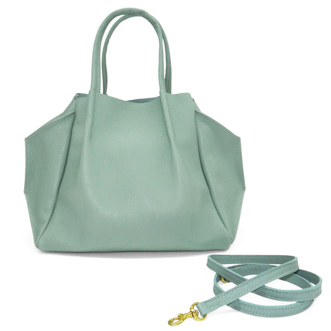 zoe tote in celeste pebble cowhide leather