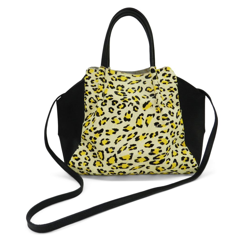 zoe tote in citron leopard haircalf & black pebble leather