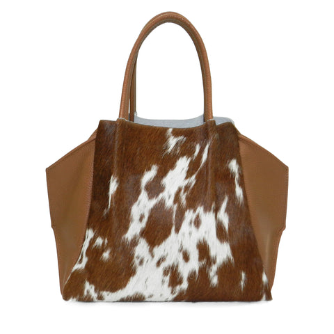 zoe tote in natural brown haircalf & cognac pebble leather
