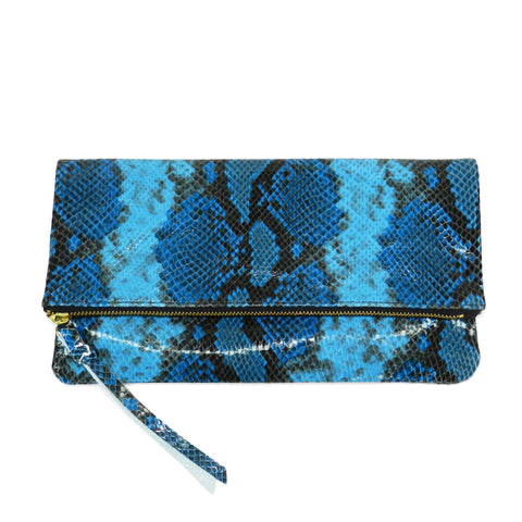 anastasia clutch in blue python leather