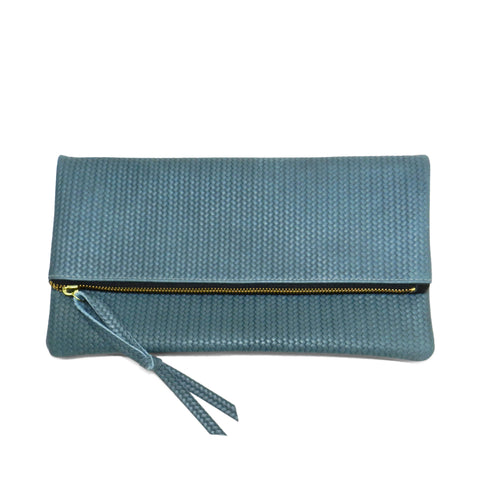 anastasia clutch in ocean woven leather