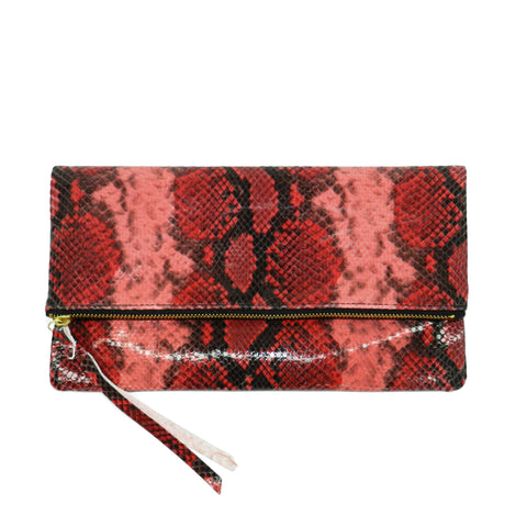 anastasia clutch in red python leather