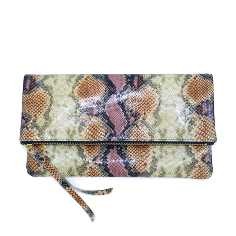 anastasia clutch in desert rose python leather