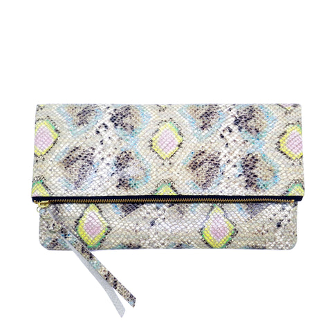 anastasia clutch in spring diamond snake leather