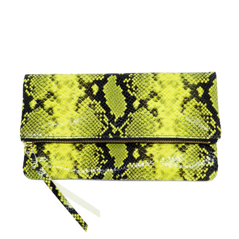 anastasia clutch in yellow python leather