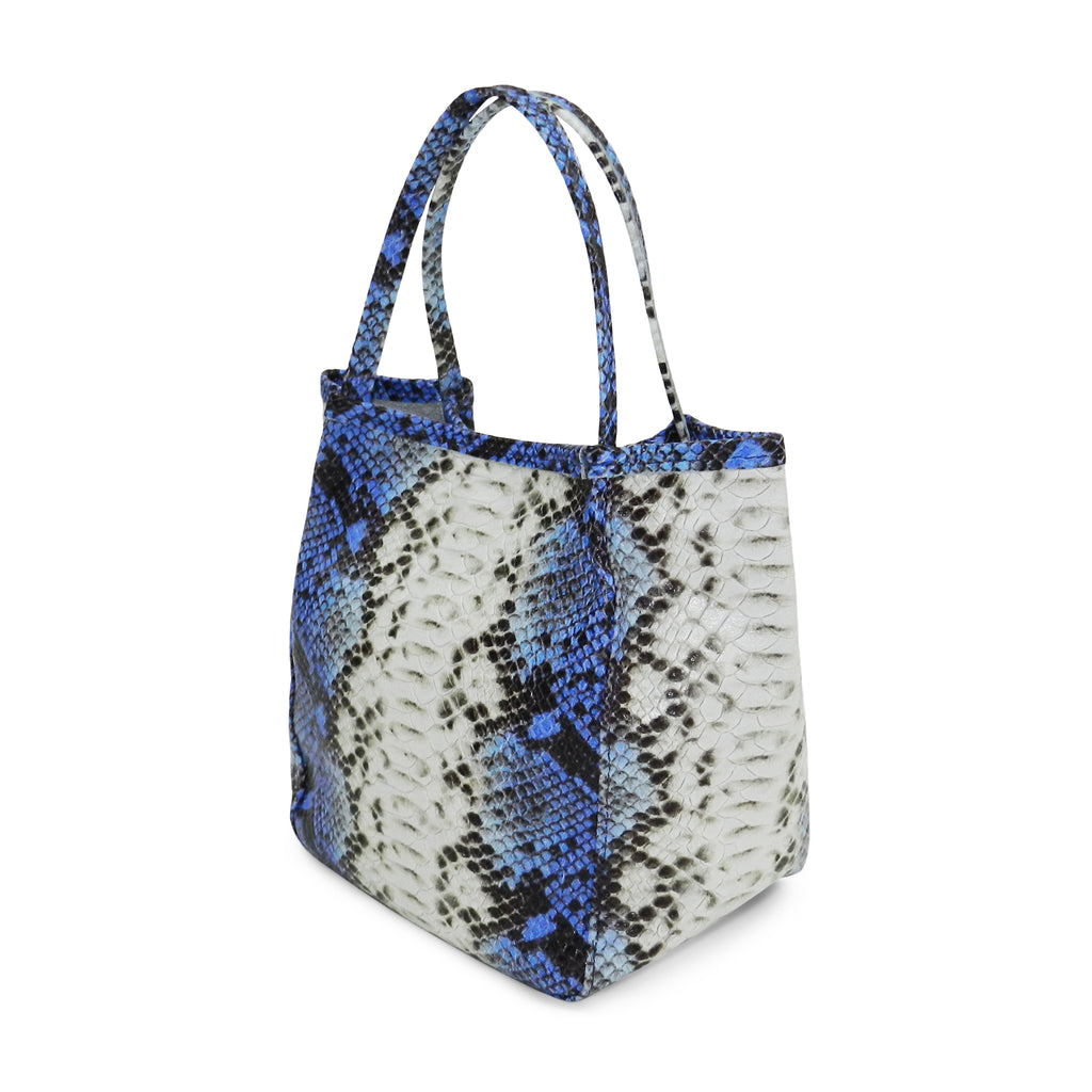 harper top handle in blue snake leather- out of stock