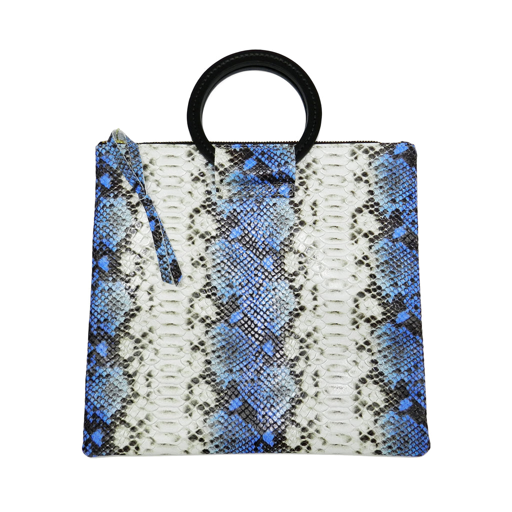 jolie clutch with handmade leather handles in blue snake leather