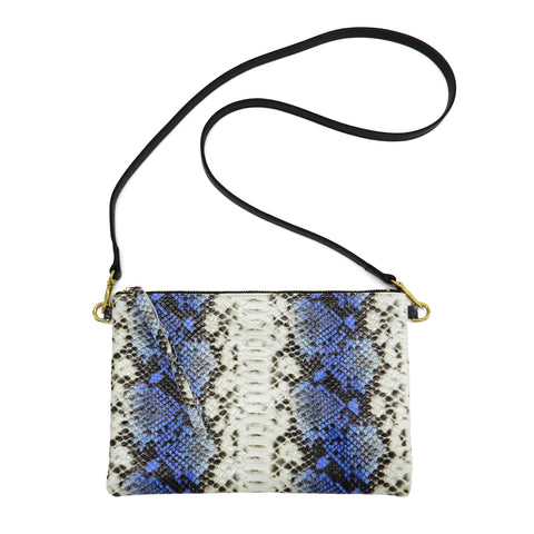 queenie crossbody in blue snake leather