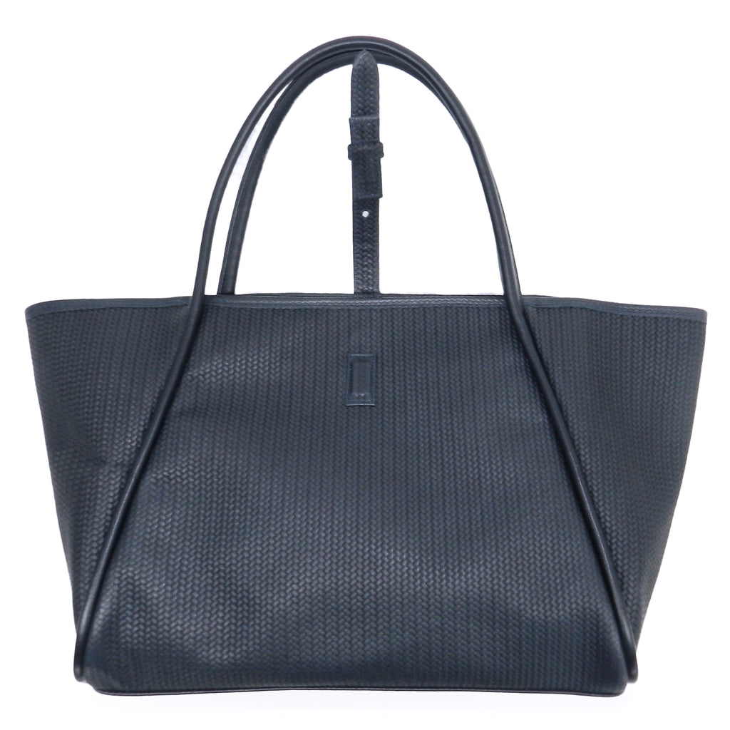 edie tote in navy woven leather