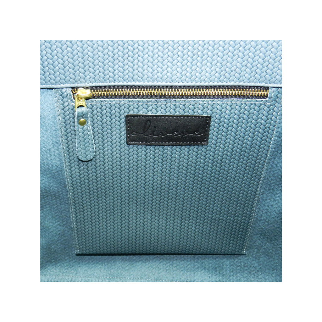 edie tote in ocean woven leather- 1 left in stock!