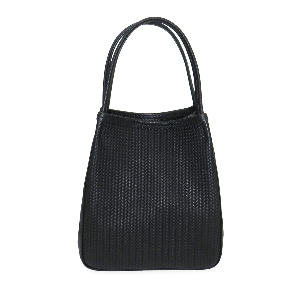 harper top handle in black woven leather