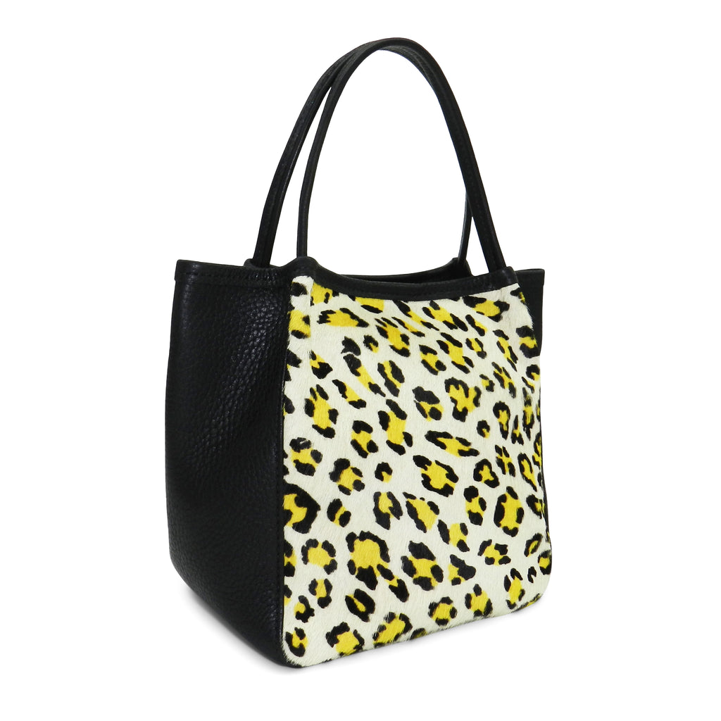 harper top handle in citron leopard haircalf & black pebble leather