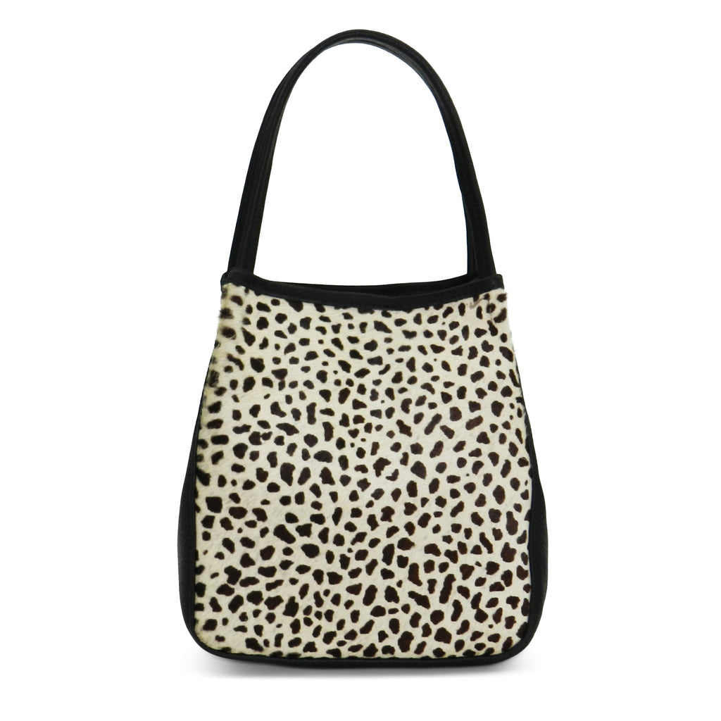 harper top handle in mini giraffe haircalf & black pebble leather