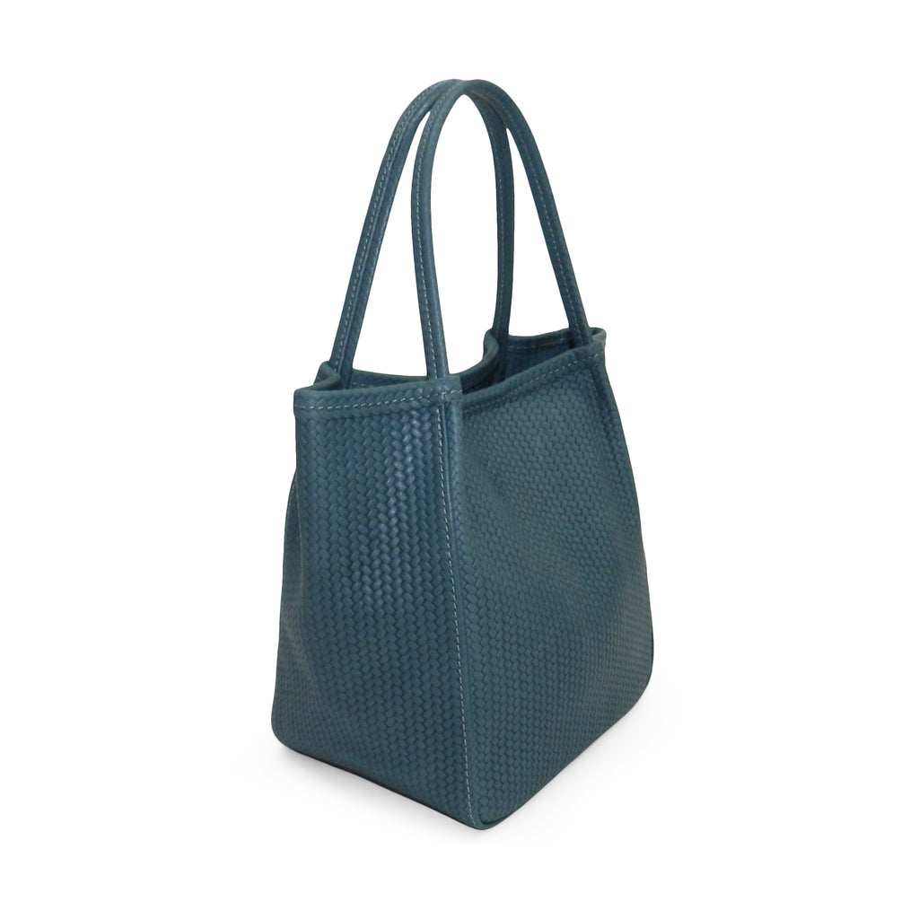 harper top handle in ocean woven leather