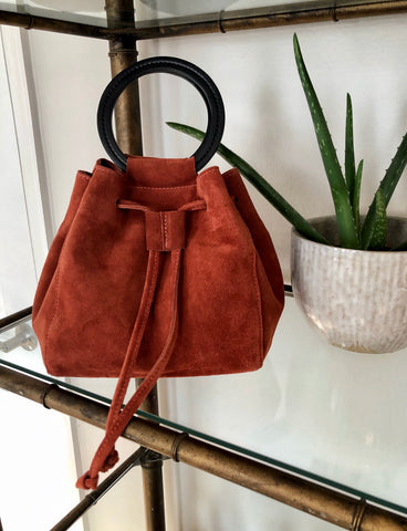 Carmella Drawstring in Rust Cowsuede Leather