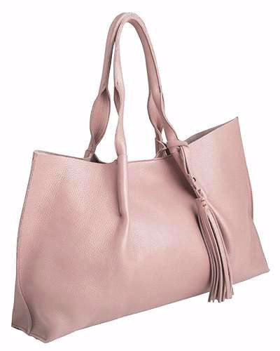 isabel tote in rosy pebble leather with leather tassel