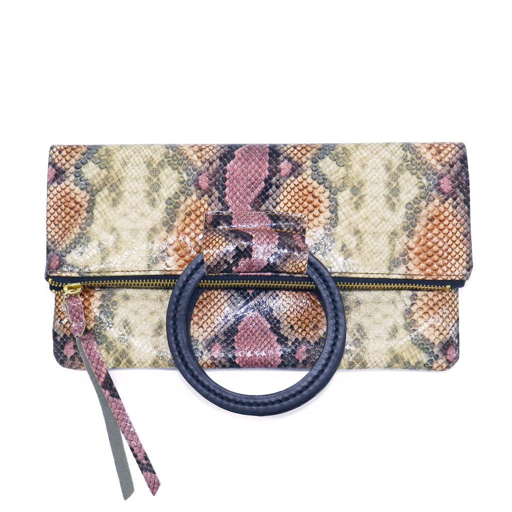 jolie clutch with handmade leather handles in desert rose python