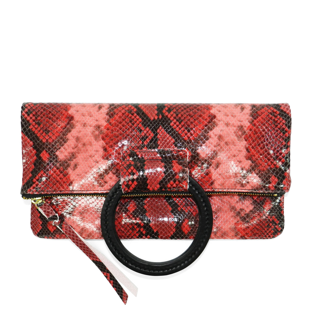 jolie clutch with handmade leather handles in red python leather