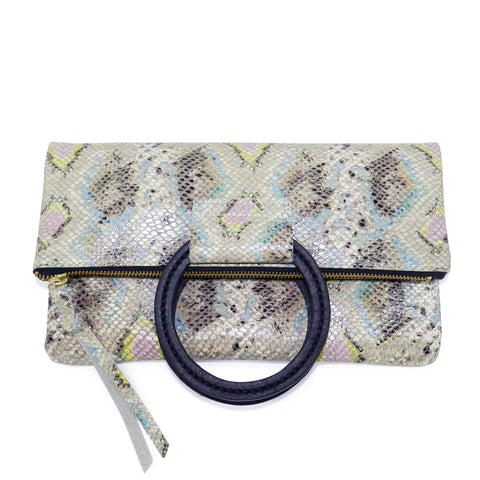 jolie clutch with handmade leather handles in spring diamond snake leather