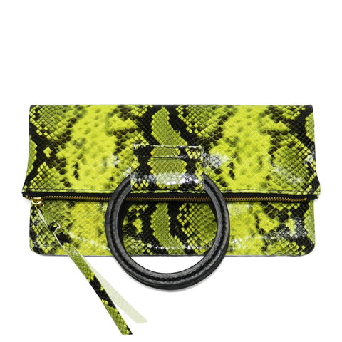 jolie clutch with handmade leather handles in yellow python leather