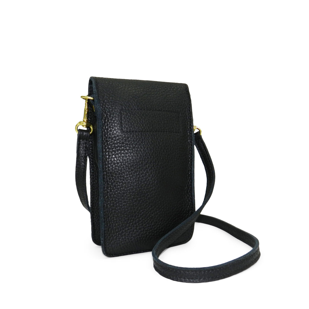 margo mini crossbody phone bag in black buffalo cowhide leather