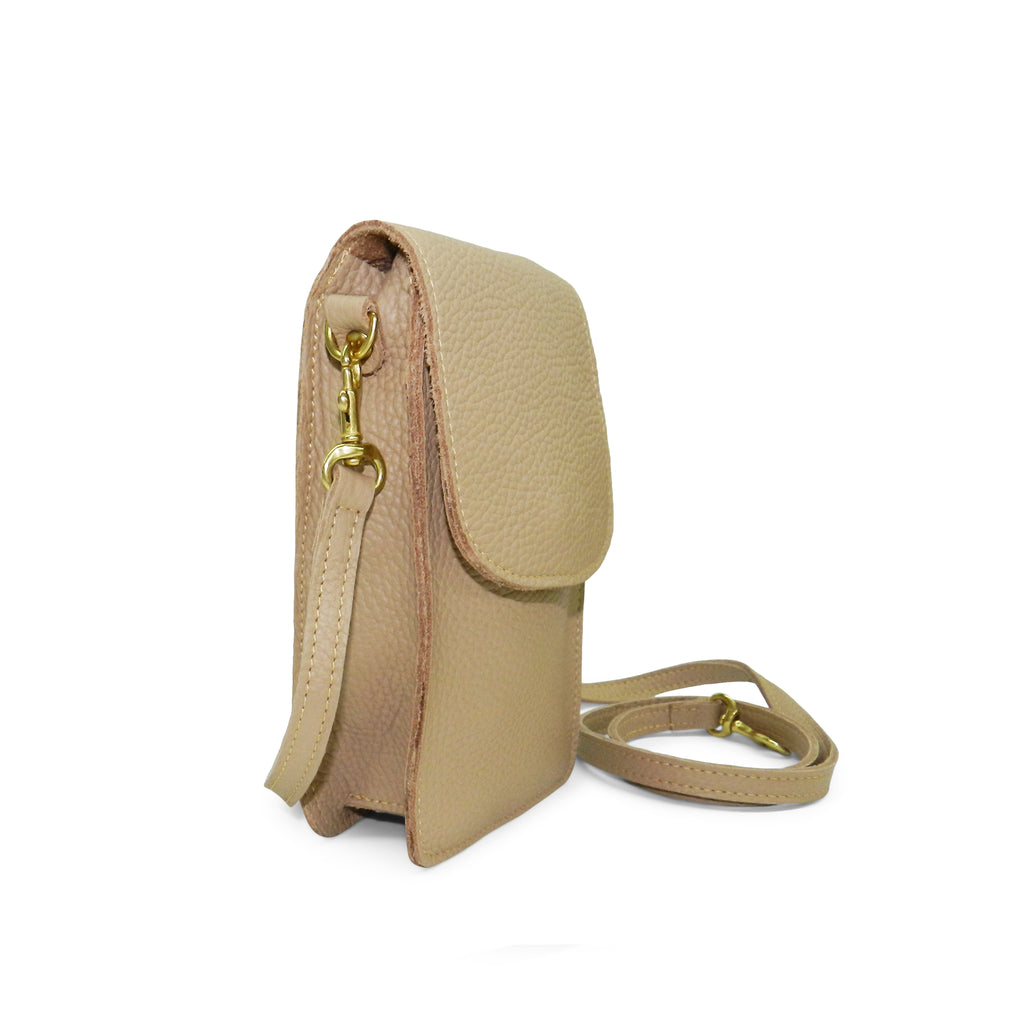 margo mini crossbody phone bag in cappuccino buffalo cowhide leather