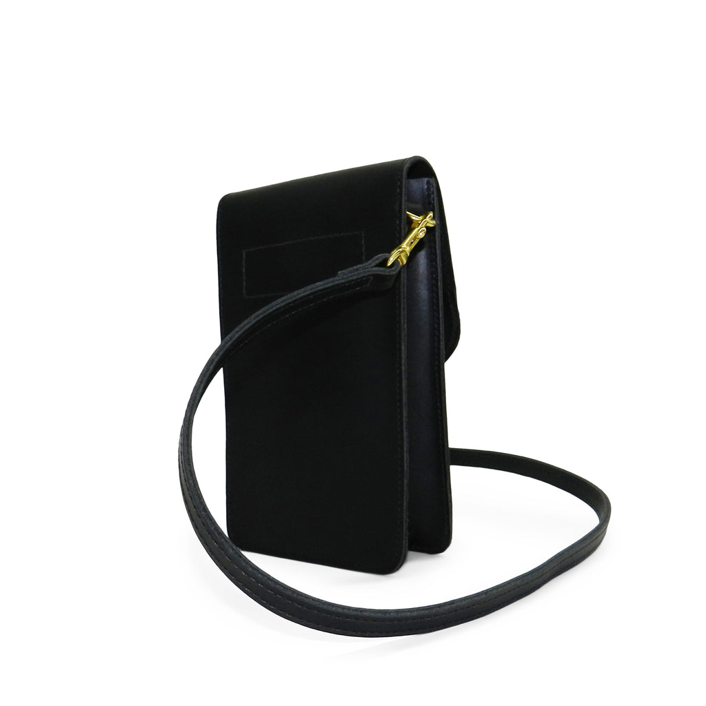 margo mini crossbody phone bag in black veg tan leather