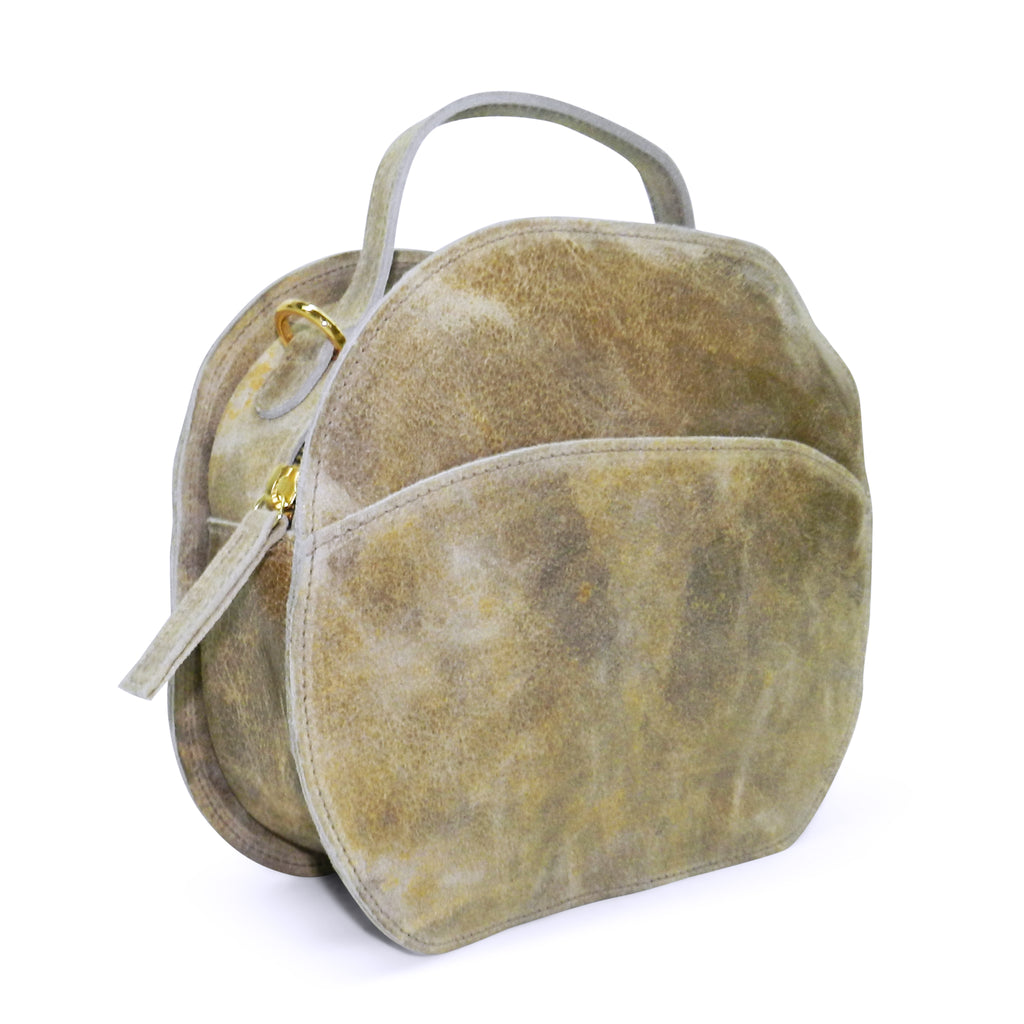 meg satchel in ivory distressed cowhide leather