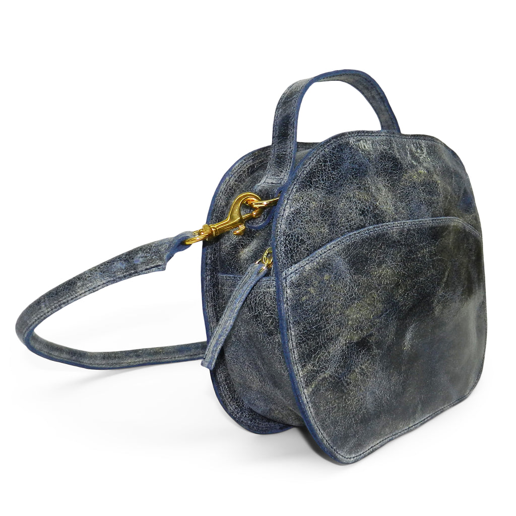 meg satchel in navy distressed cowhide leather