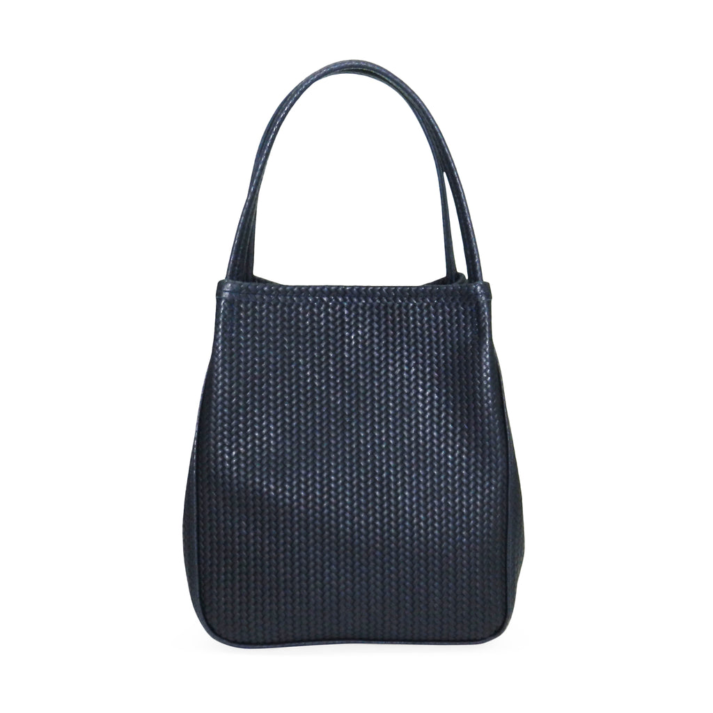 harper top handle in navy woven leather