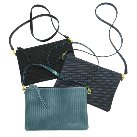 queenie crossbody in navy woven leather