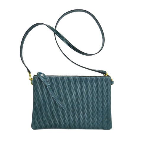 queenie crossbody in ocean woven leather- 1 left!