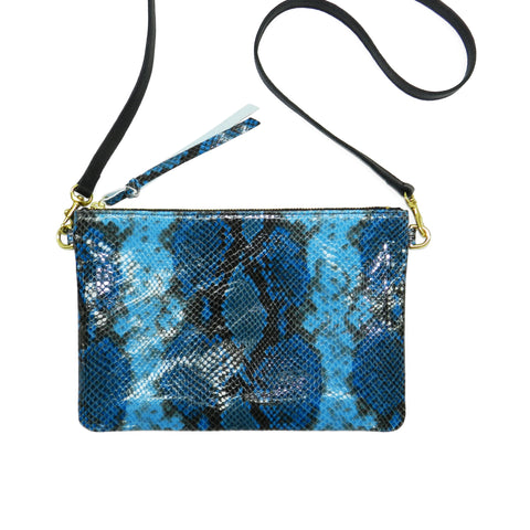 queenie crossbody in blue python leather