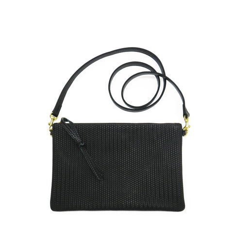 queenie crossbody in black woven leather