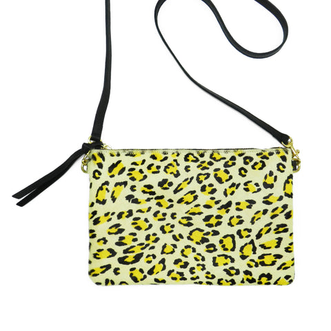 queenie crossbody in citron leopard haircalf