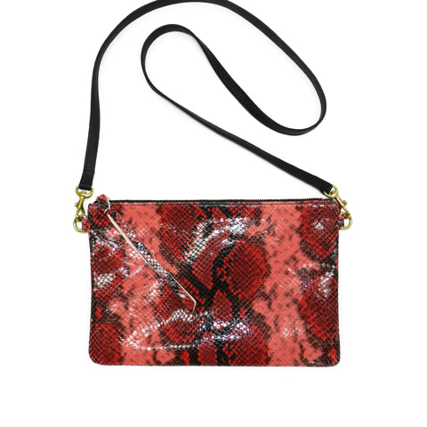 queenie crossbody in red python leather