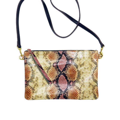 queenie crossbody in desert rose python leather