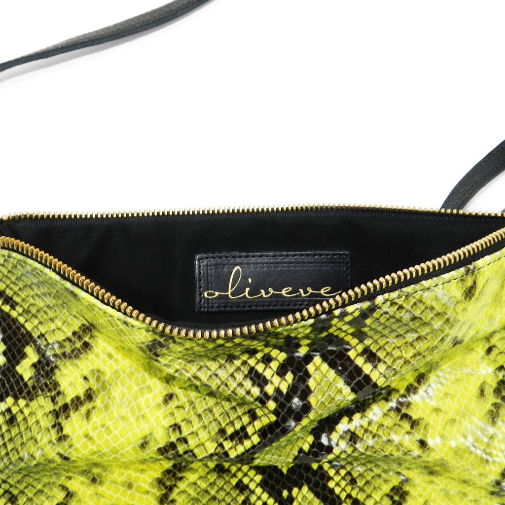 queenie crossbody in yellow python leather