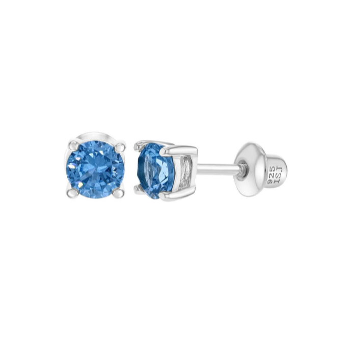 Baby and Children's Earrings - Sterling Silver Four Prong 4mm Blue CZ with Screw Backs