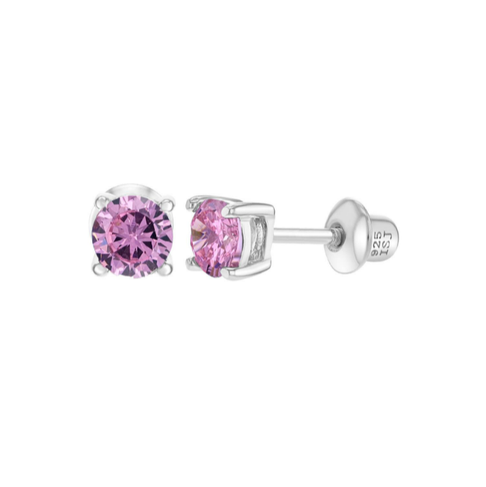 Baby and Children's Earrings - Sterling Silver Four Prong 4mm Pink CZ with Screw Backs