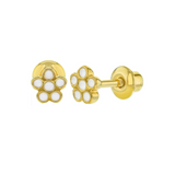 Baby and Toddler Earrings:  18k Gold Filled, White Enamel Flower Earrings with Screw Backs