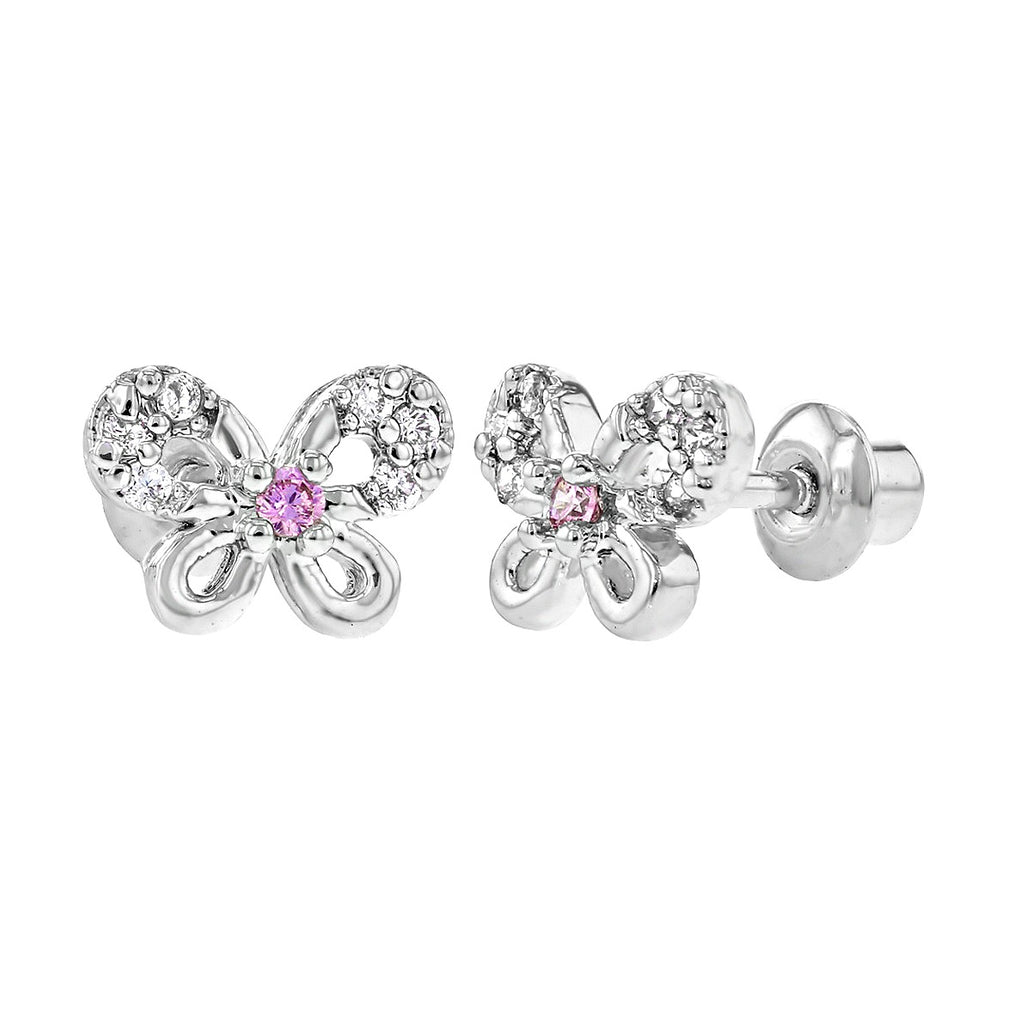 Baby and Children's Earrings:  Sterling Silver CZ Butterfly Earrings with Screw Backs