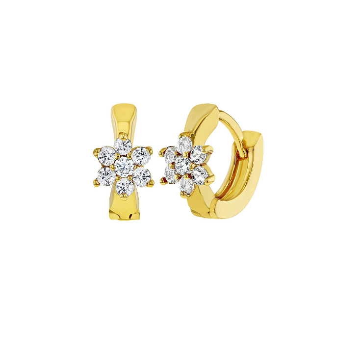 Baby and Children's Earrings:  18k Gold Filled Huggies with Clear CZ Flower