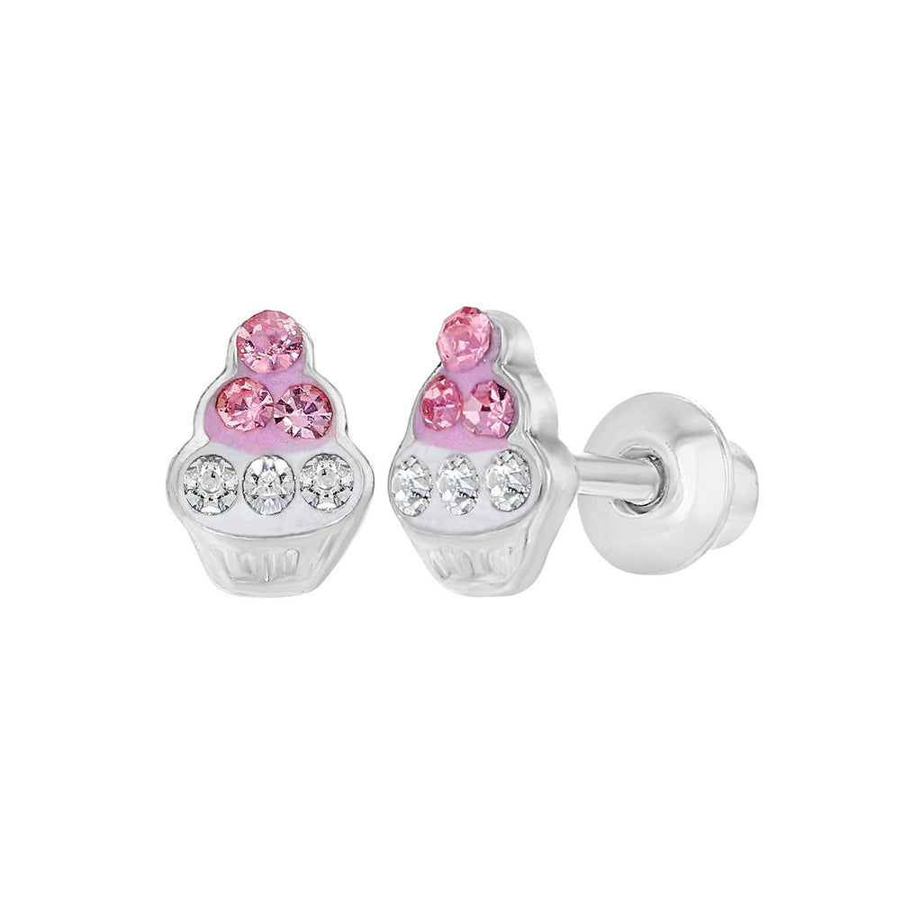 Baby and Toddler Earrings:  18k White Gold Filled, Pink and White CZ Cupcake Screw Back Earrings